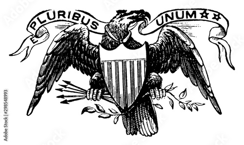 Great seal of the US, 1913 vintage illustration. Canvas Print