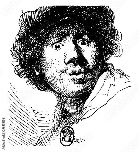 Rembrandt, vintage illustration Canvas-taulu