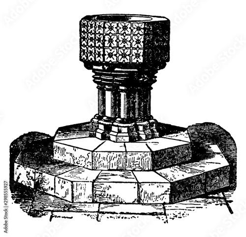 Billede på lærred Baptismal Font vintage illustration.
