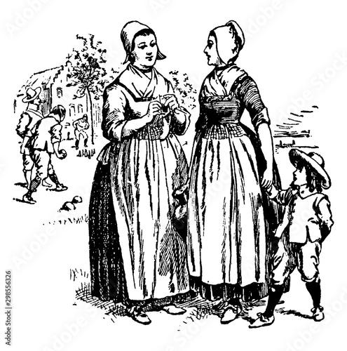 Fotografía  Dutch settlers,vintage illustration.