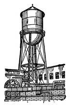 Water Tower Vintage Illustrati...