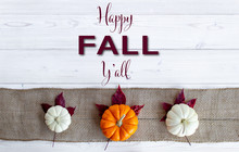 Happy Fall Y'all Lettered On White Wood Background With Orange And White Pumpkins On Burlap With Purple Maple Leaves