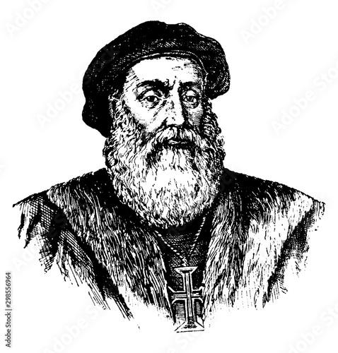 Fotografía Vasco Da Gama, vintage illustration