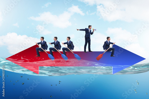 Spoed Fotobehang Wanddecoratie met eigen foto Disagreement concept with businessmen rowing in different direct