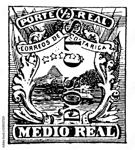 Photo Costa Rica Medio Real Stamp in 1882, vintage illustration.