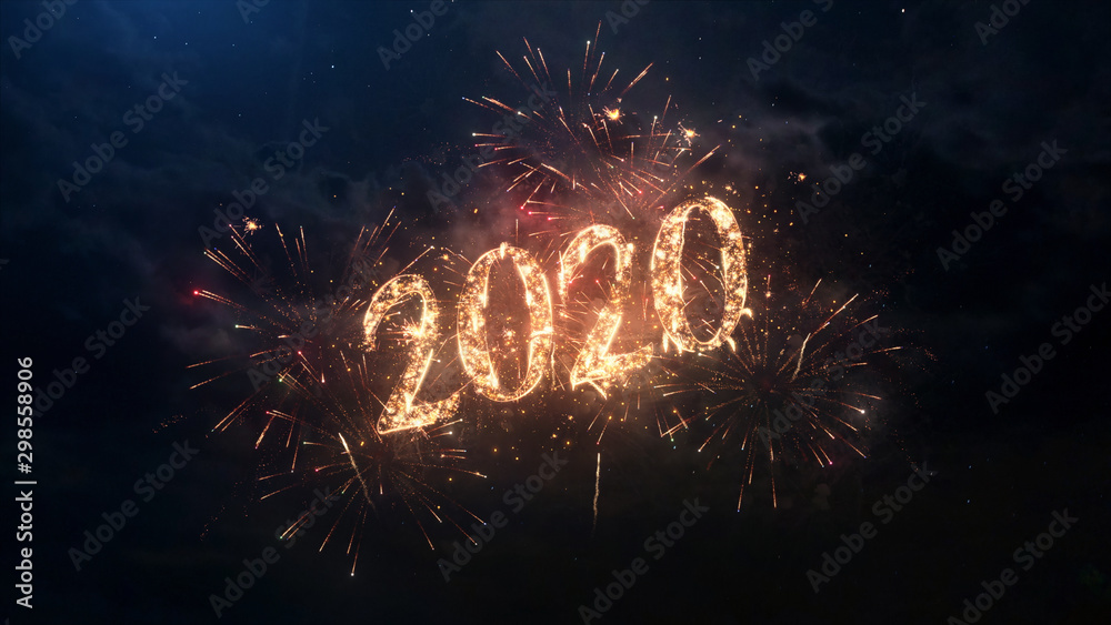 Fototapety, obrazy: 2020 Happy New Year greeting text with particles and sparks on black night sky with colored fireworks on background, beautiful typography magic design.