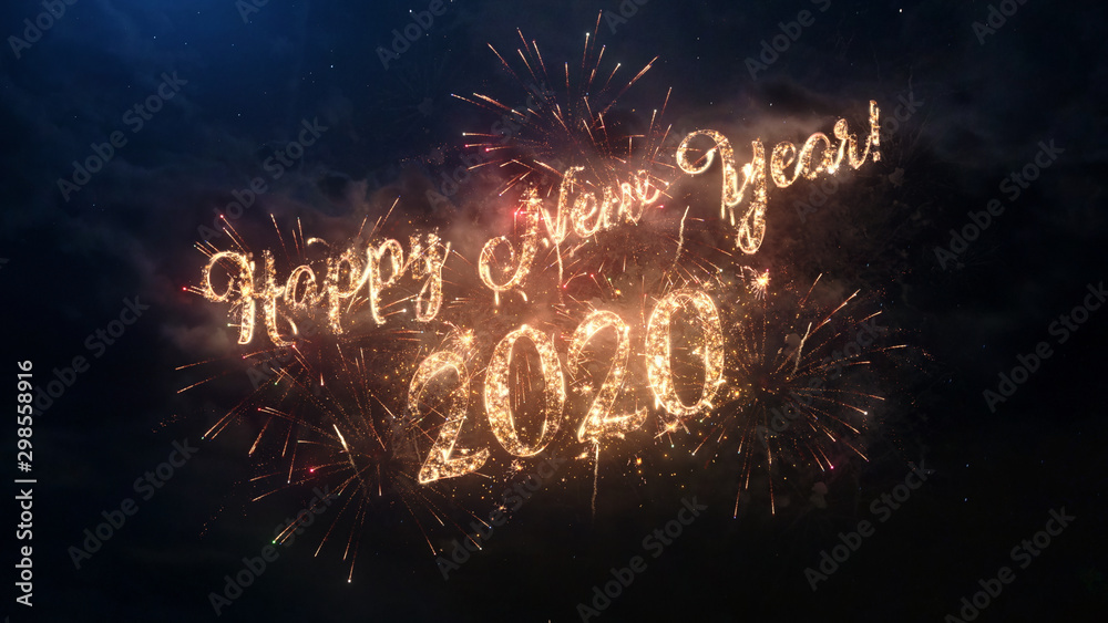 Fototapeta 2020 Happy New Year greeting text with particles and sparks on black night sky with colored fireworks on background, beautiful typography magic design.