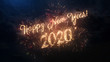 Leinwanddruck Bild - 2020 Happy New Year greeting text with particles and sparks on black night sky with colored fireworks on background, beautiful typography magic design.