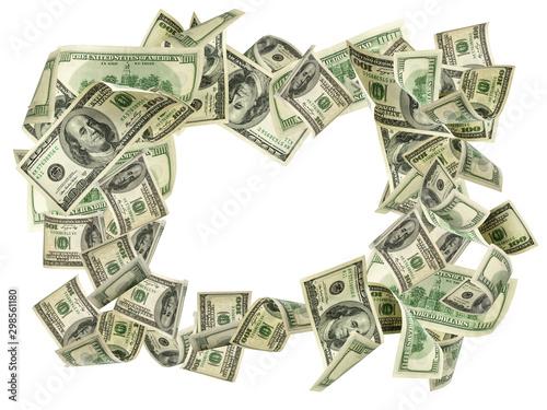 Fototapeta Money stack. Hundred dollars of America. Falling money isolated, us bill. obraz