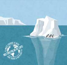 Stranded Penguins On Iceberg. Melting Polar Ice Caps And Rising Sea Levels. Climate Change Global Warming Series With Warning Stamp.
