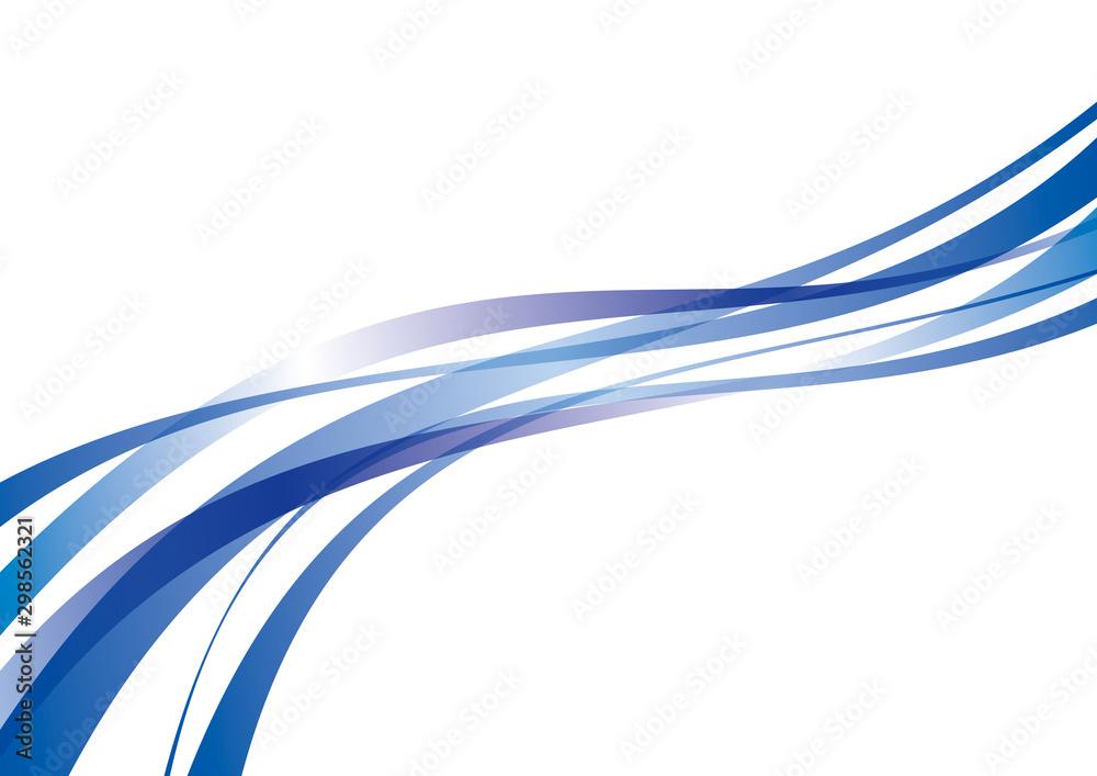 Fototapety, obrazy: アブストラクト 滑らかな曲線 波 青