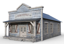 3D Rendered Old Wooden Western...