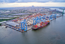 Aerial View Of Cargo Ships At Port Of Philadelphia