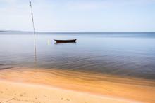 Boat Standing In Amazon Beach.