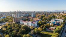 Road Clinical Hospital In Khabarovsk Top View. The Church Of The Holy Martyr Grand Duchess Elizabeth In Khabarovsk In The Summer On The Territory Of The Railway Hospital