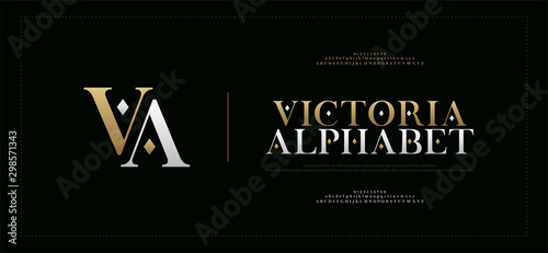 Fototapety, obrazy: Elegant alphabet letters serif font and number. Classic Lettering Minimal Fashion. Typography fonts regular uppercase, lowercase and numbers. vector illustration