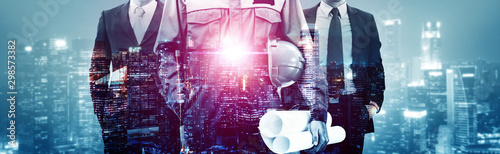 Fotografia  Future building construction engineering project concept with double exposure graphic design