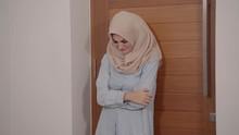 Footage Muslim Woman Standing Behind The Door, Crying Felt Deep Sadness
