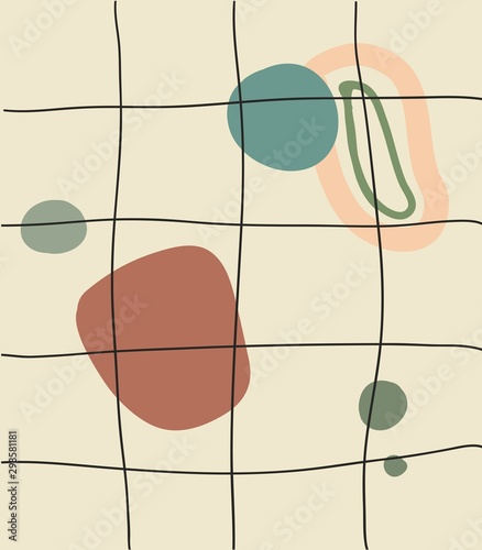 Fototapety, obrazy: Abstract modern composition, pastel colors Contemporary art illustration