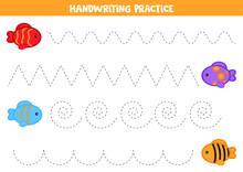 Educational Worksheet For Preschool Kids. Handwriting Practice With Cute Colorful Fish.