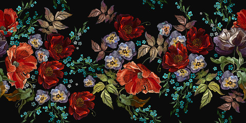 Fototapeta Do kuchni Embroidery red roses, violet flowers, beautiful and meadow herbs, horizontal seamless pattern. Floral coloful fashion template for clothes, textiles, t-shirt design