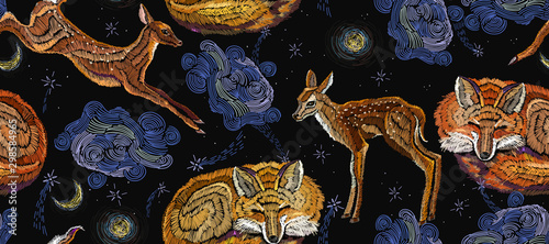fototapeta na szkło Embroidery sleeping fox, deer and night sky, horizontal seamless pattern. Good night art. Fashionable template for design of clothes