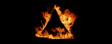 Triangle Flame On Black Backgr...