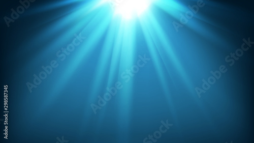 Fotografia  illustration of mystery underwater of sea or ocean with sunlight rays for backgr