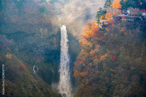 Autumn leaves at Kegon Falls, Nikko national park, Tochigi, Japan.