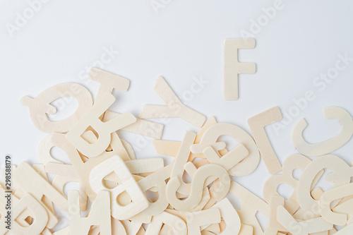 Photo  ABC english wood letters on white