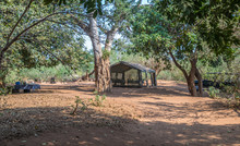 A Safari Adventure Travel Camp In The African Wilderness Image With Copy Space In Horizontal Format