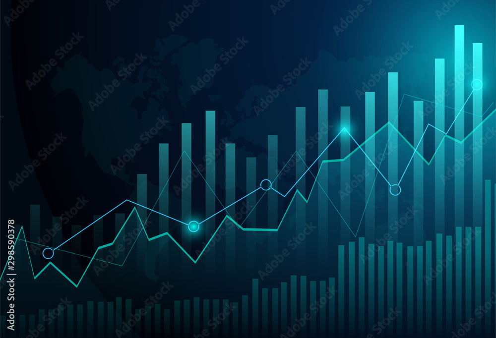 Fototapeta Business candle stick graph chart of stock market investment trading on blue background. Bullish point, Trend of graph. Eps10 Vector illustration.