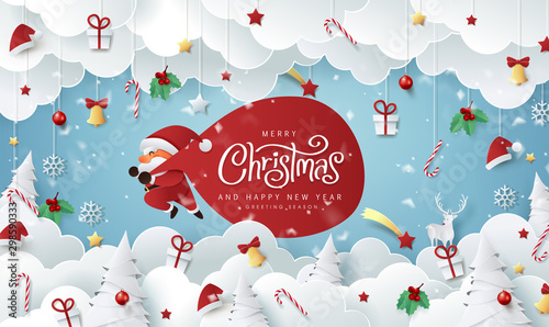 Fototapety, obrazy: Winter christmas composition in paper cut style.Merry Christmas text Calligraphic Lettering Vector illustration.