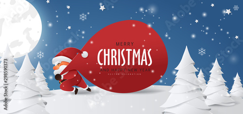 Santa Claus with a huge bag on the run to delivery christmas gifts at snow fall.Merry Christmas text Calligraphic Lettering Vector illustration. - 298590373