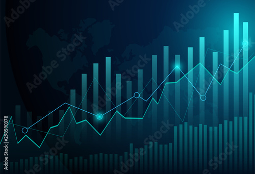 Fotomural Business candle stick graph chart of stock market investment trading on blue background