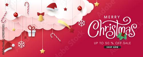 Fototapeta Christmas composition in paper cut style sale banner background.Merry Christmas text Calligraphic Lettering Vector illustration. obraz