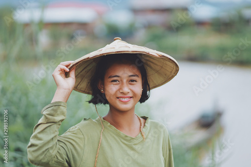 Portrait of Asian Beautiful Burmese girl farmer in Myanmar Canvas Print