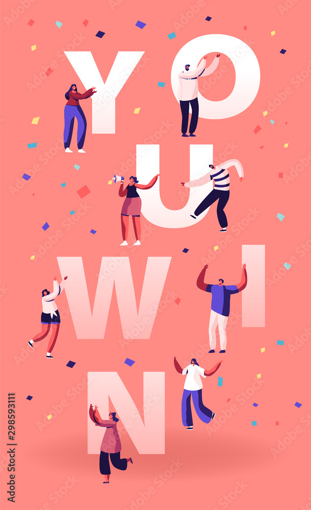 Fototapeta You Win Concept. Cheerful People Laughing Dancing and Celebrating with Hands Up. Employees Rejoice for New Project Success and Victory Poster Banner Flyer Brochure. Cartoon Flat Vector Illustration