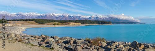 scenic Lake Pukaki and Southern Alps panorama, New Zealand