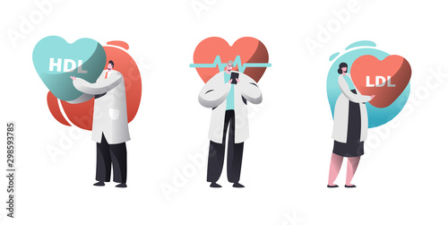 Fototapeta Cardio Healthcare Set with Male and Female Cardiology Doctors Checking Patient Pulse Heart Rate or HDL LDL High and Low Density Lipoproteins Rate. Health Care Workers. Cartoon Flat Vector Illustration obraz