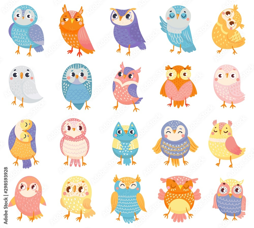 Fototapety, obrazy: Cartoon owl. Cute color owls, forest birds and hand drawn baby owl. Owlet birdie characters, doodle baby owls expression. Isolated vector illustration icons set