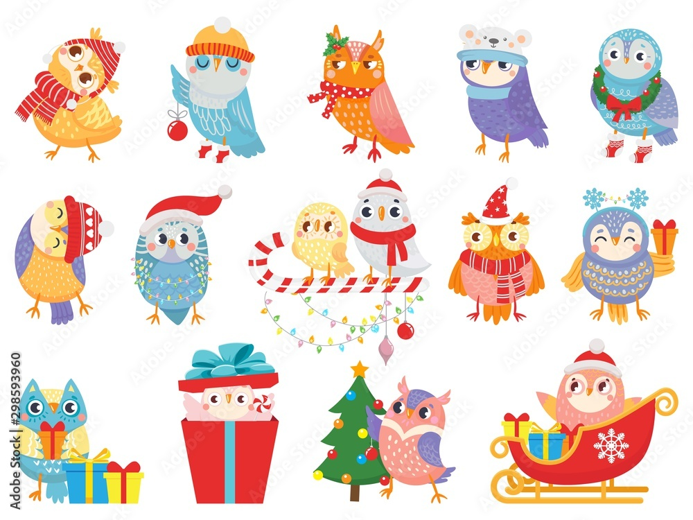 Fototapety, obrazy: Winter owl. Cute christmas birds, owls in scarf and hat and bird mascot. 2020 Xmas owl birdie character in gift box, in sleigh or decorate tree. Isolated icons vector illustration set
