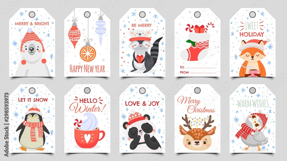 Fototapety, obrazy: Cute animals christmas tags. Holiday gift tag with winter owl, deer and bears. Happy animal celebrate xmas label, 2020 new year greeting or invitation card. Isolated cartoon vector icons set