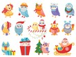Winter owl. Cute christmas birds, owls in scarf and hat and bird mascot. 2020 Xmas owl birdie character in gift box, in sleigh or decorate tree. Isolated icons vector illustration set