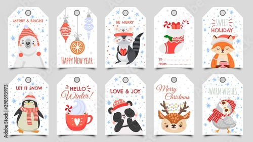 Tuinposter Uilen cartoon Cute animals christmas tags. Holiday gift tag with winter owl, deer and bears. Happy animal celebrate xmas label, 2020 new year greeting or invitation card. Isolated cartoon vector icons set