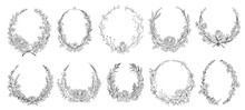 Hand Drawn Round Floral Frames. Sketch Flower, Leaves And Branches Decoration Wreath. Circle Flower Frame, Laurel Wreath Border Or Victorian Branch Vignette. Isolated Vector Symbols Set