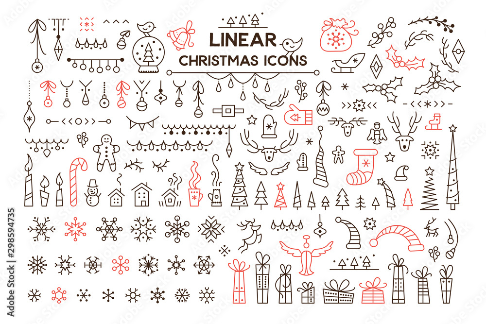 Fototapety, obrazy: Winter holidays decoration vector linear illustrations set