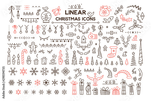 Pinturas sobre lienzo  Winter holidays decoration vector linear illustrations set