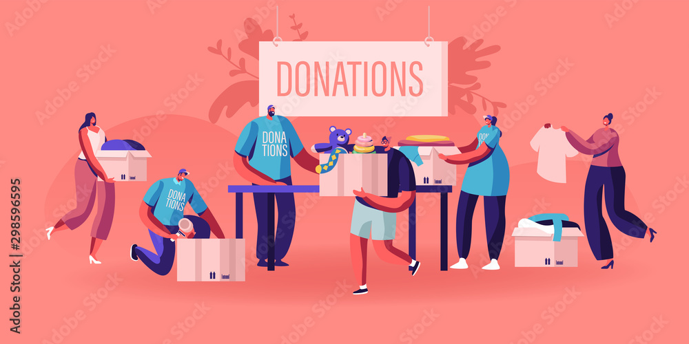 Fototapety, obrazy: Donation and Charity Concept. Male and Female Characters Bringing Boxes with Different Things and Clothes for Poor People who Appears in Complicated Life Situation. Cartoon Flat Vector Illustration