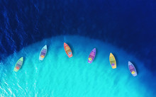 Boats From Air. Aerial View On...